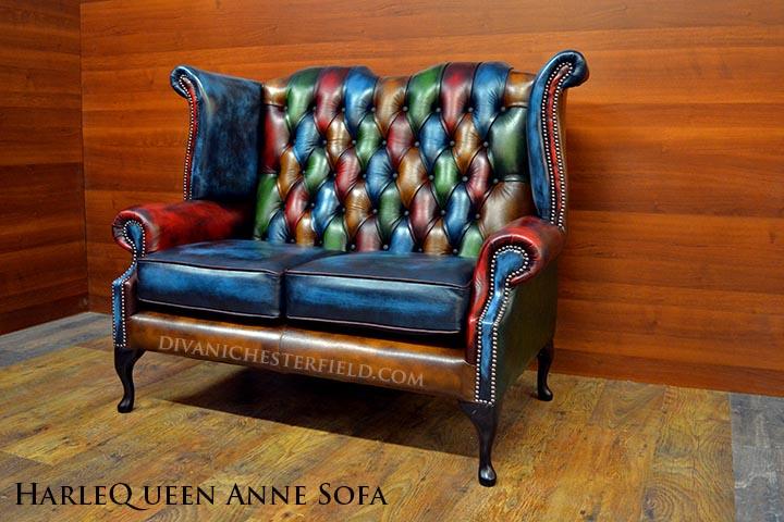 Divano chesterfield queen anne vintage patchwork harleq for Divano queen