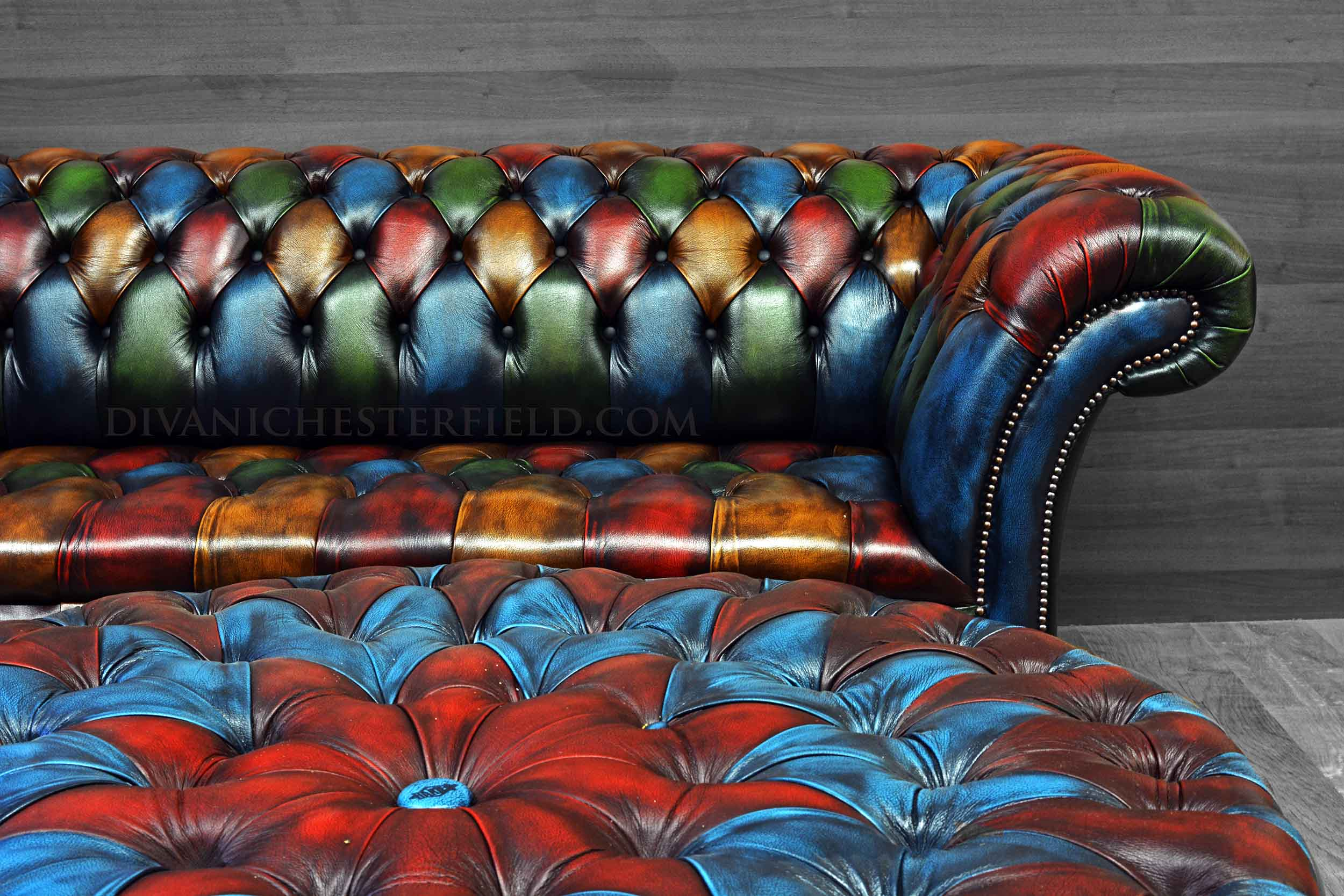 Divani In Pelle Colorati.Divano Chesterfield Pelle Patchwork Moderno Buckingham