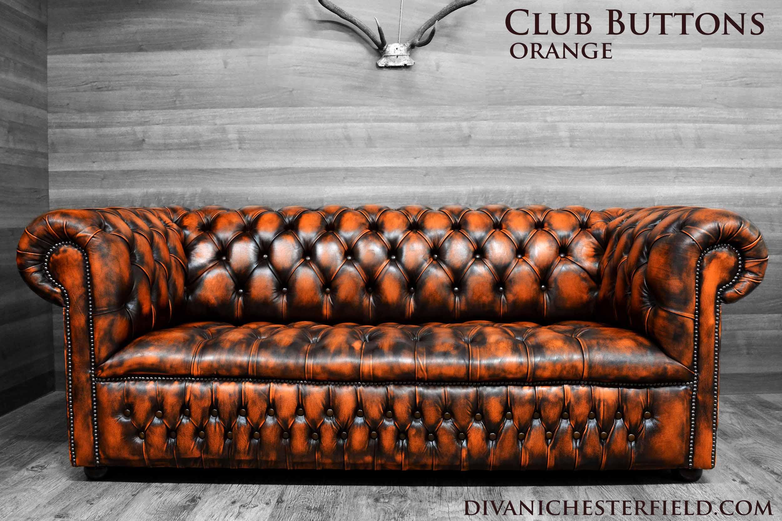 Divano Pelle Arancione : Divani chesterfield vintage pelle arancione nuovi fabbricati in