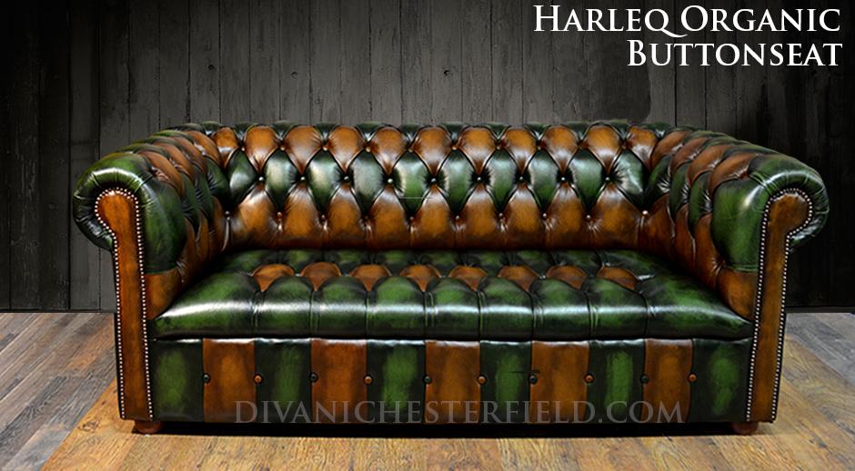 Divano chesterfield vintage patchwork harleq verde marrone for Divani nuovi