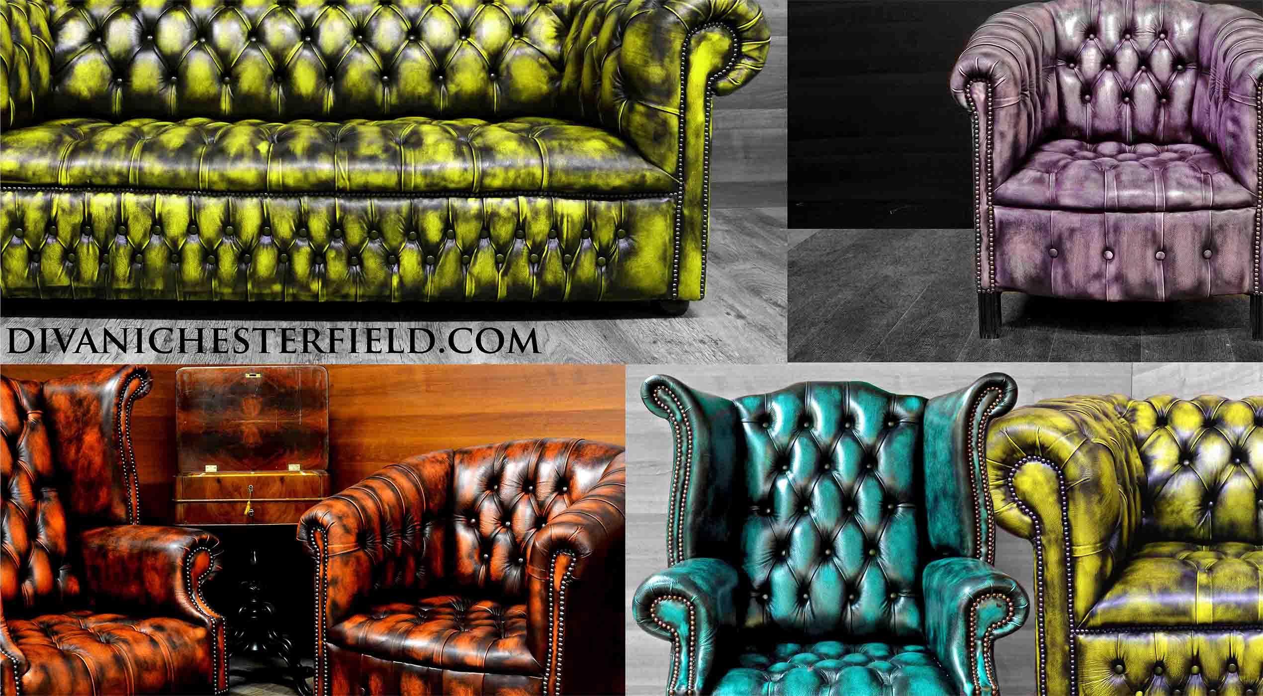 Divani Chesterfield Patchwork Harleq, Nuovi effetto Vintage, Pelli ...