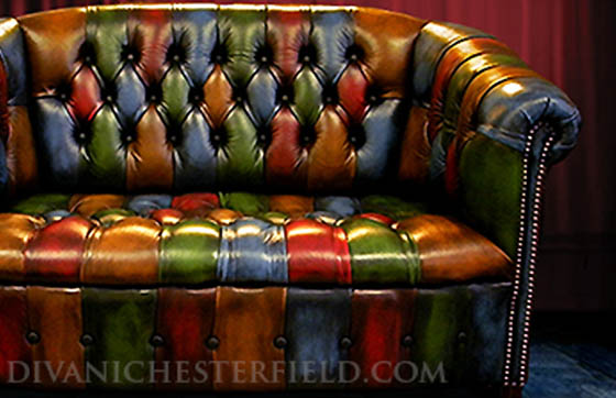 divano chesterfield vintage patchwork byron