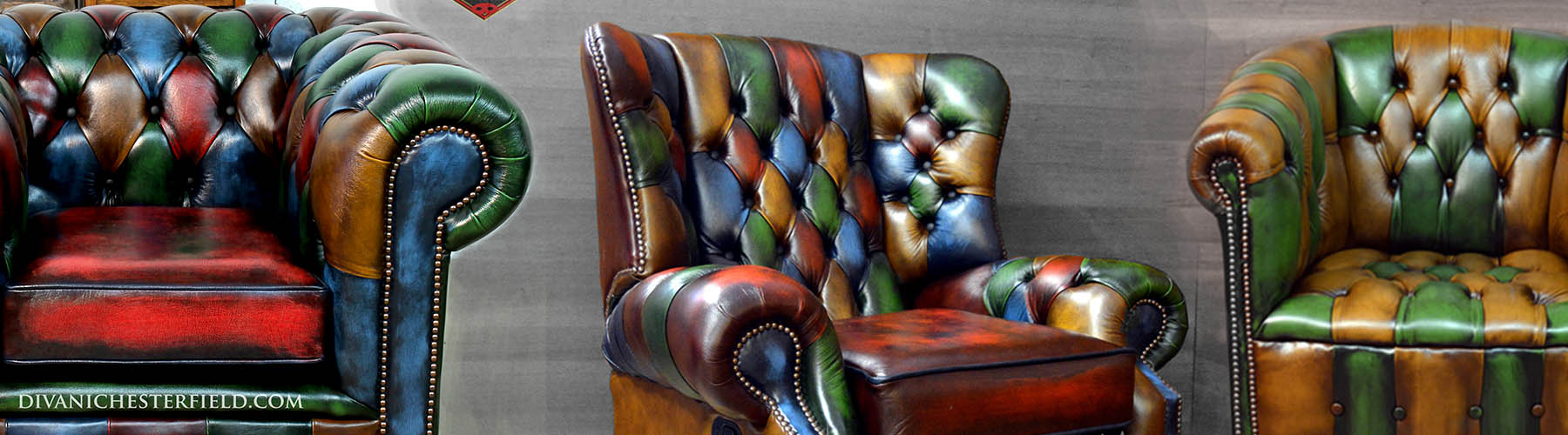 poltrone chesterfield pelle moderne colorate patchwork originali