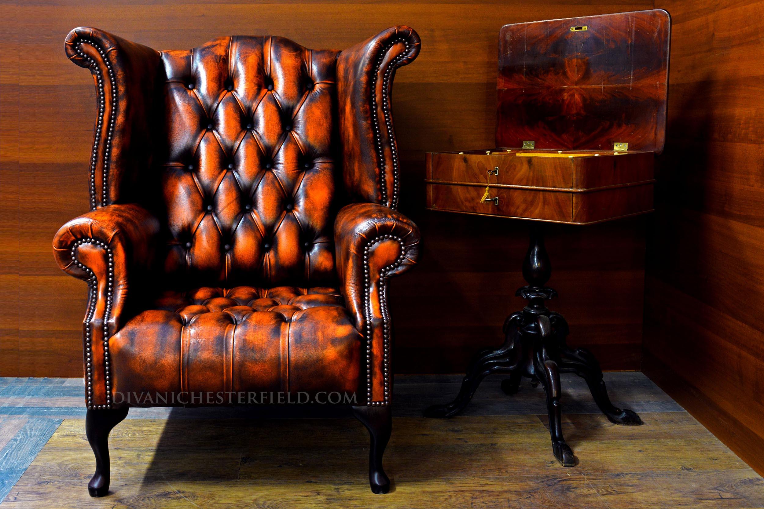 Poltrona chesterfield vintage pelle arancione nuova for Poltrone vintage pelle