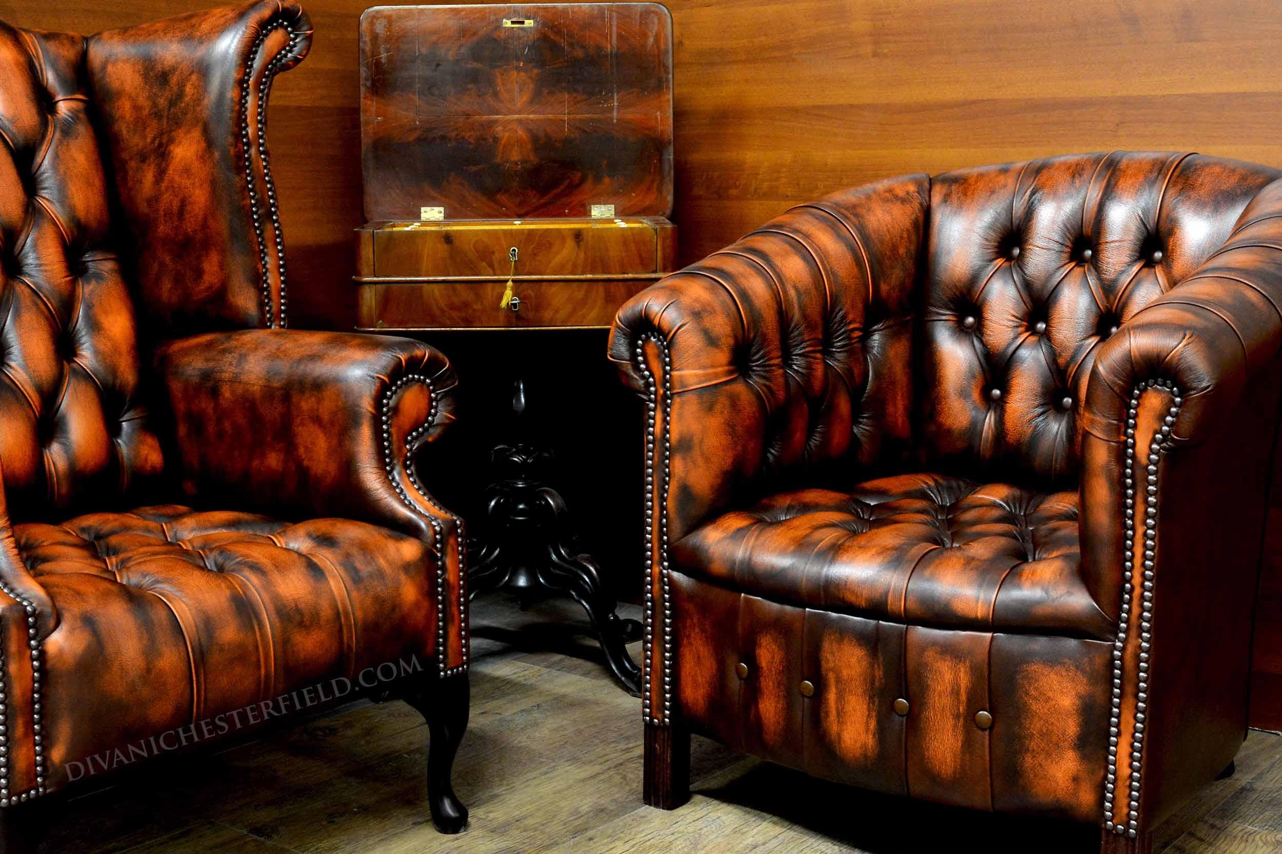 Poltrona chesterfield vintage pelle arancione nuova - Poltrone in pelle chesterfield ...
