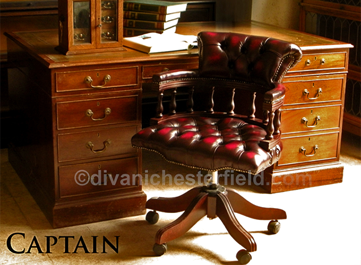 Poltrona Chesterfield da Ufficio Captain girevole e reclinabile, Poltrona Chester in pelle Nuova ...
